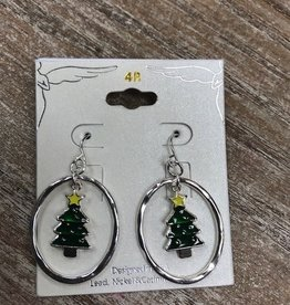 Jewelry Circle Christmas Tree Earrings