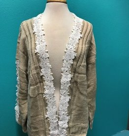Cardigan Open Cardigan w/ Floral Crochet Sleeves