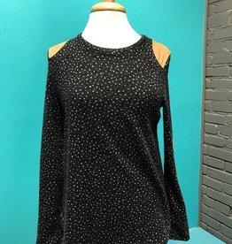 Long Sleeve Charcoal Polka Dot LS