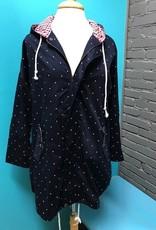 Jacket Navy Polka Dot Zip Jacket