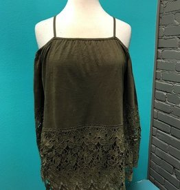 Top Olive Crochet Lace Top
