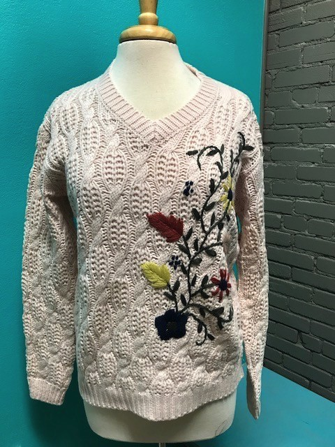 Sweater Blush Embroider Sweater