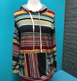 Hoodie Gray/Mustard Stripe Hoodie