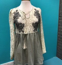 Tunic Gray Floral Lace LS Tunic
