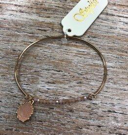 Jewelry Pink Glass Bead Gold Bracelet
