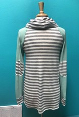 Hoodie Striped Long Sleeve Hoodie w/ Elbow Patches