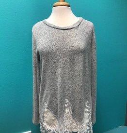 Long Sleeve LS Top w/ Lace Trim Detail