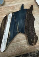 Decor Blue/White/Brown Horse Head