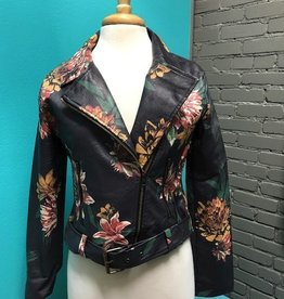 Jacket Charcoal Floral Zip Moto Jacket