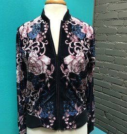 Jacket Navy Velvet Bomber Jacket