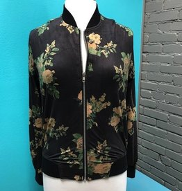 Jacket Black Floral Zip Jacket
