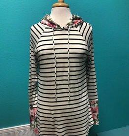 Hoodie Striped Hoodie w/ Floral Print Contrast