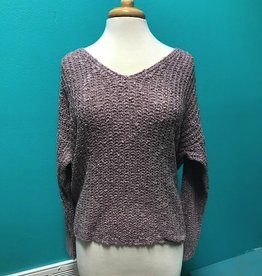 Sweater Knit Sweater w/ Twist Tied Back