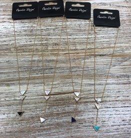 Jewelry Gold Necklace w/ Triangles