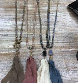 Jewelry Long Beaded Necklace w/ Tassle