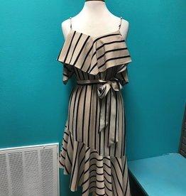 Dress Off Shoulder Striped Dress w/ Tie