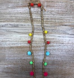 Jewelry Long Wooden Necklace w/ Colorful Balls