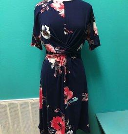 Dress Drape Detail Floral Print Dress