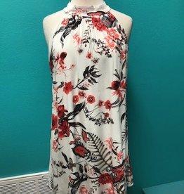 Dress Floral Print Mock Neck Dress w/ Lining