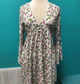Dress Floral Button Down Dress w/ Lace Up Back