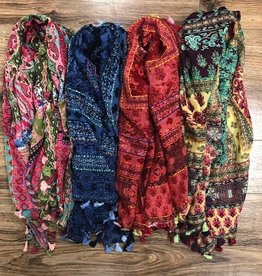 Scarf Multicolored Scarf w/ Tassels