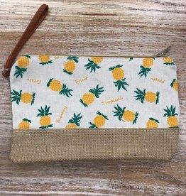 Bag Pineapple Jute Zip Bag