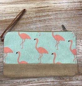 Bag Flamingo Jute Zip Bag