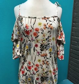 Shirt Open Shoulder Floral Top