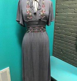 Dress Grey Embroid Empire Dress
