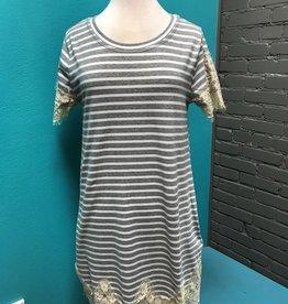 Dress Grey Stripe Lace Pocket Dress