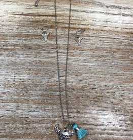 Jewelry Silver Etched Bull Necklace w/ Earrings