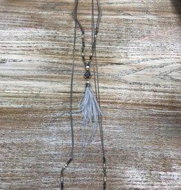 Jewelry Gray Bead Feather Chain Cord Necklace
