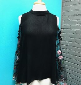 Top Cold Shoulder Top w/ Embroid Sleeves