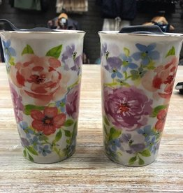 Mug Ceramic Floral Travel Mug