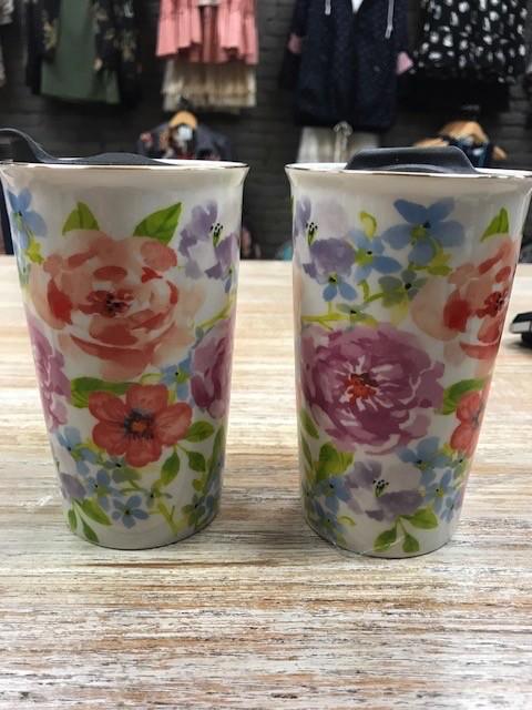 ceramic floral travel mug glitz spurs