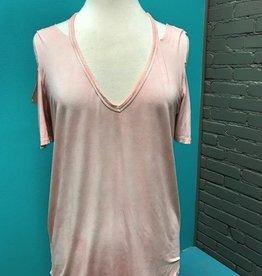 Shirt Pink Cold Shoulder Tee