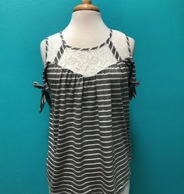 Top Stripe Button Back Top w/ Tie Sleeves