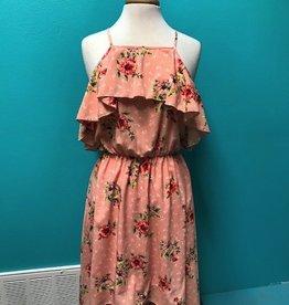 Dress Floral Cold Shoulder Hilo Dress w/ Ruffles