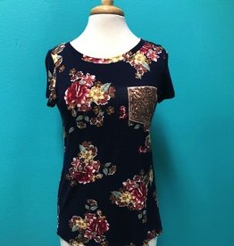 Top Floral Tee w/ Sequin Pocket