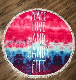 Towel Round Peace, Love, Sandy Feet Beach Towel