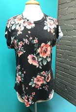 Top Charcoal Floral Tee