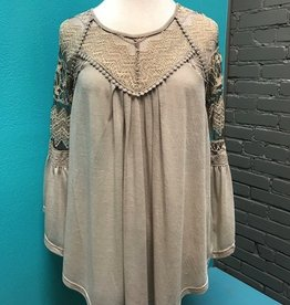 Top Beige Flutter Sleeve Lace Top