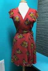 Dress Coral Floral Wrap Dress