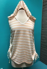 Tank Wht/Peach Hooded Lace Tank