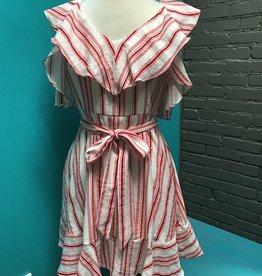 Dress Red Stripe Cold Shoulder Dress