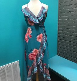 Dress Teal Floral Wrap Maxi Dress