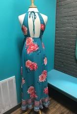 Dress Teal Floral Wrap Maxi Dress