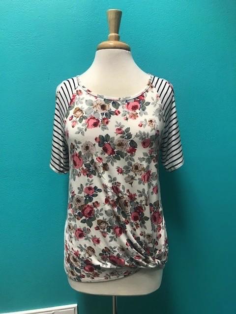 Top Floral Stripe Cold Shoulder w/ Twist Front