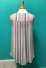 Tank Color Stripe Tank w/ Lace Up Front