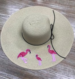 Hat Embroided Flamingos Floppy Hat